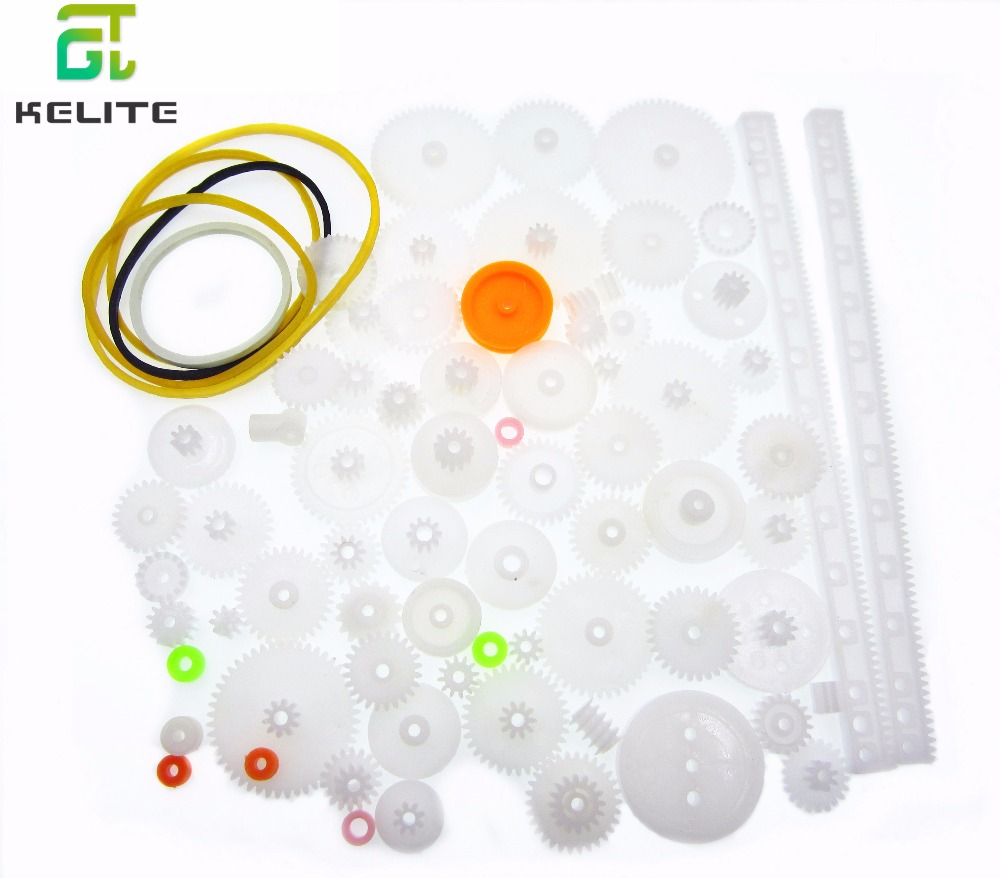 pulley 10 sets 75PCS a lot,Plastic gear,rack belt,Worm gear,Single-and double-gear,8-56 teeth for arduino diy kit