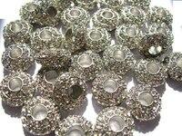 Большое отверстие-20 шт. 7 х 12 мм Micro Pave CZ Spacer серебро золото Латунь Кубического Циркония rondelle шариков прокладки кристалл Выводы