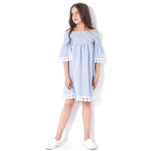 2019 Summer Girls Princess Dress White Off-shouder Lace Kids Summer Dress for Girls Striped Party Birthday Teens School Outfits girls dress black color back school uniform summer dress for teens cotton 2017 princess wedding party dresses size 6 16yrs