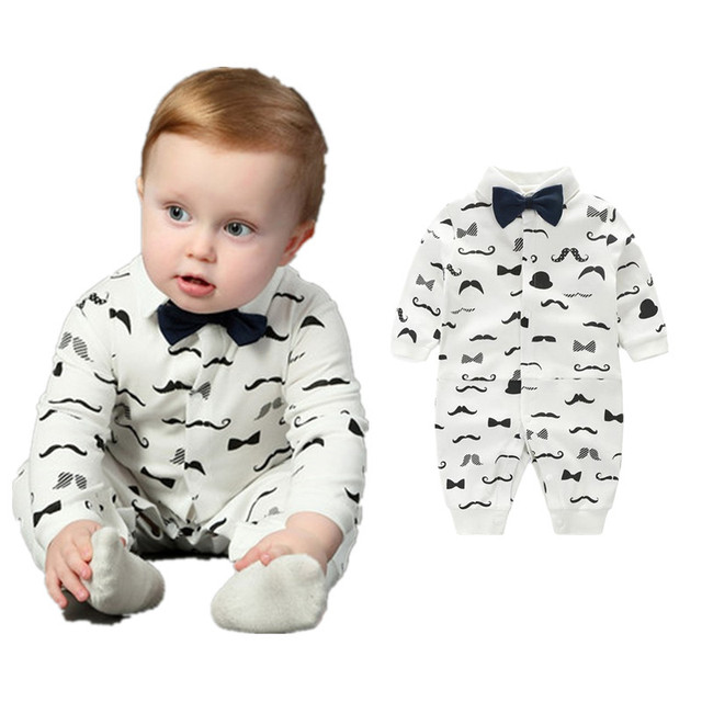 7b0a92800140 0-2T Baby Boy Romper Gentleman Bowtie Beard Printed Cotton Long Sleeve  Jumpsuit Newborn Baby Clothes Infant Toddler Kids Overall