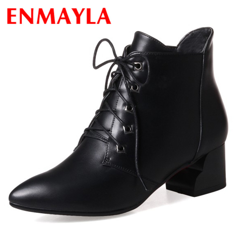ENMAYLA New Lace Up Boots for Women Western Solid PU Shoes Pointed Toe Spring/Autumn Boots 34-43 Womens Fashion Dating Shoes pu serpentine lace up pointed toe womens flats