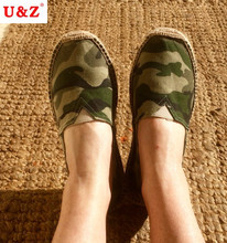 Cool yet Functional Spring Camouflage Canvas Espadrilles Shoes Men Loafers,Brand Slip-on Men Linen breathable Casual shoes