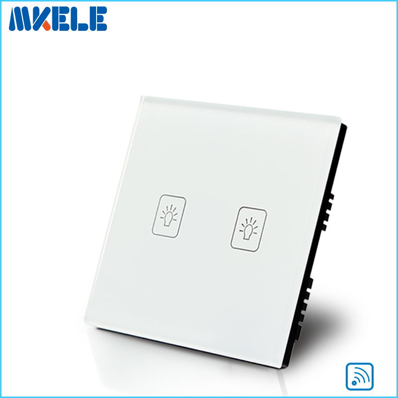 New Arrivals Touch Wall Switch UK Standard 2 Gang 1 Way RF Can Wireless Remote Control Light Switches White Crystal Glass Panel wall light touch switch 2 gang 2 way wireless remote control touch switch power for light crystal glass panel wall switch