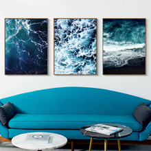 Sea Wall Art Blue Posters And Prints Water Poster Black  Canvas Painting Nordic Decor Unframed