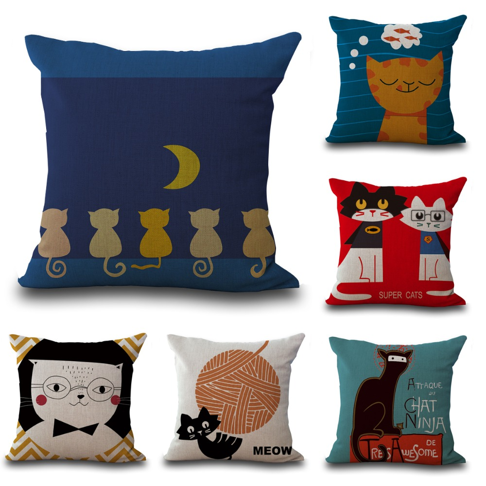 Hot cat style cushion cat print pillow bed sofa home - Cojines para sofa gris oscuro ...