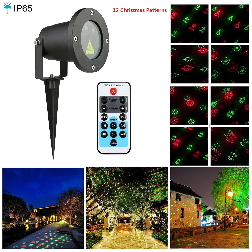 Outdoor Laser Light RG 12 Patterns Red Green Christmas