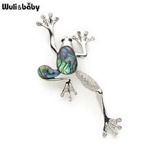 Alloy Natural Shell Frog Brooches Women Men Banquet Metal Animal Brooch Pins For Suits Dress Fashion Hat Scarf Pins Corsage