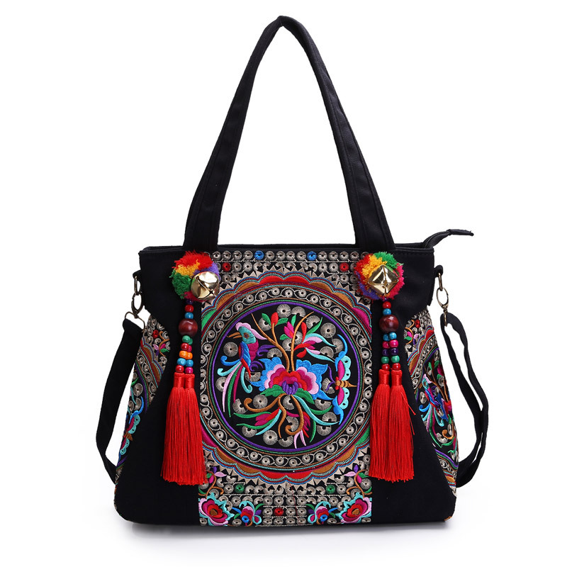 Women Canvas Retro National Embroidered Bag Floral Peony Pattern Female Single Shoulder Embroidered Messenger Cross-body Handbag vintage embroidery women flats chinese floral canvas embroidered shoes national old beijing cloth single dance soft flats