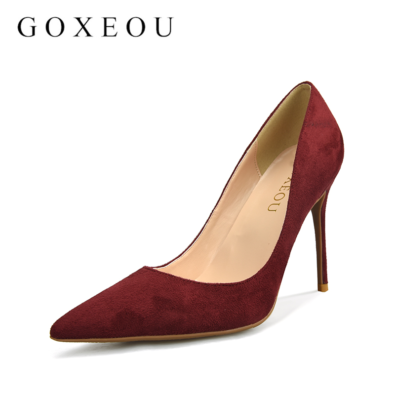 GOXEOU Women Pumps Elegant High Heel Women's Pumps Pointed Toe Ladies Shoes Woman Heels 10cm creativesugar elegant pointed toe woman