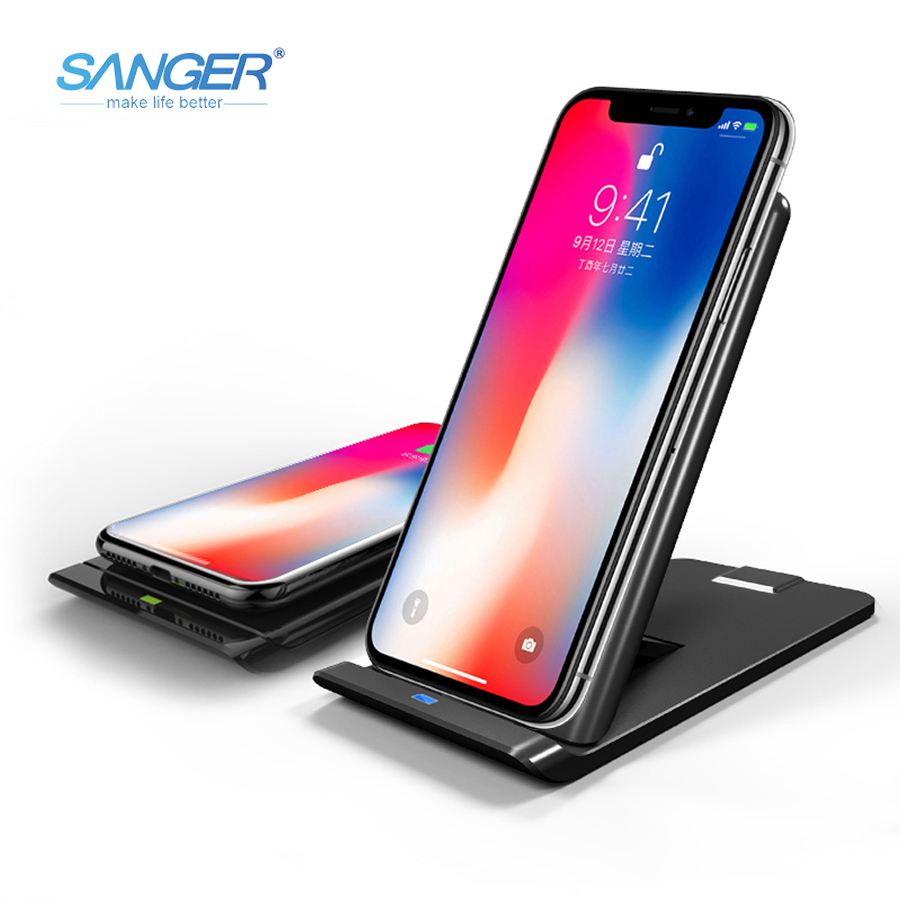 SANGER 10W 3 Coils Wireless Charger Fast Charge Wireless Charging Holder Suppot QC3.0 Type-C for iPhone X 8 8 Plus Samsung S8+