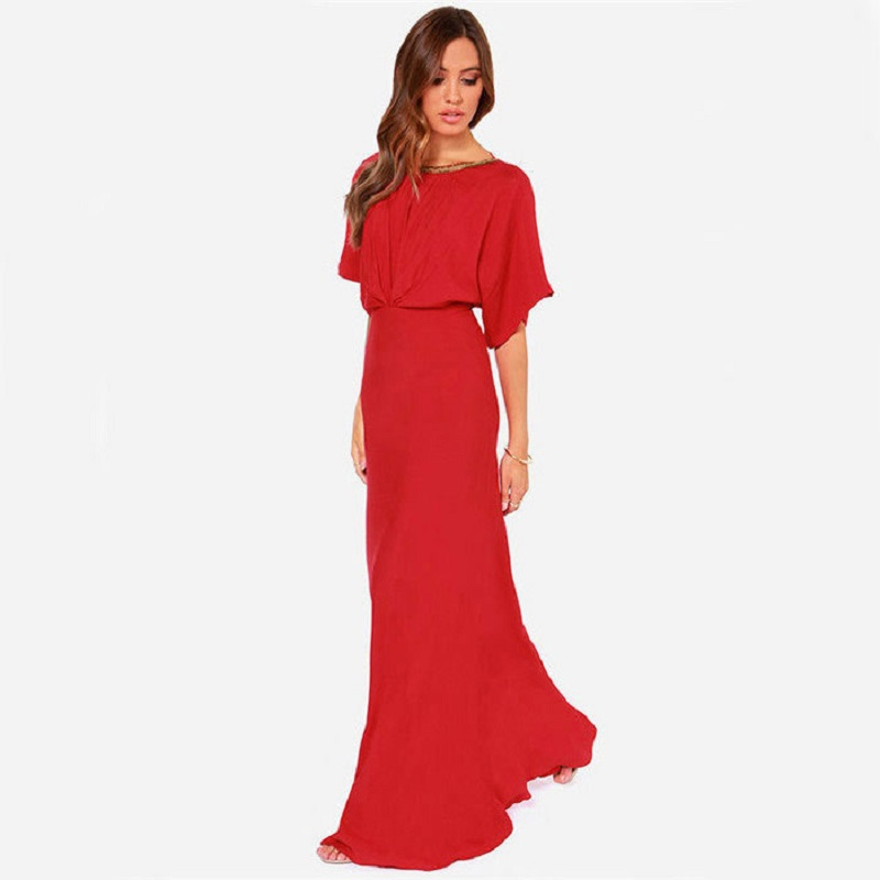 371a3402fcb 2015 New Arrival European Style Red Halter Chiffon Dresses Maxi Dress Short  Sleeve Backless Brand Party Dresses DR026-in Dresses from Women s Clothing  on ...