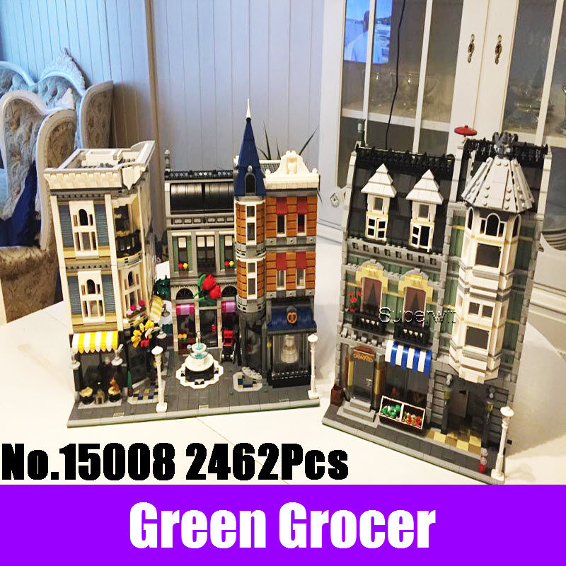 New 2462Pcs Lepin 15008 City Street Green Grocer Model Building Kits Blocks Bricks Compatible Educational Toys 10185 Kids Gifts new lepin 16008 cinderella princess castle city model building block kid educational toys for children gift compatible 71040