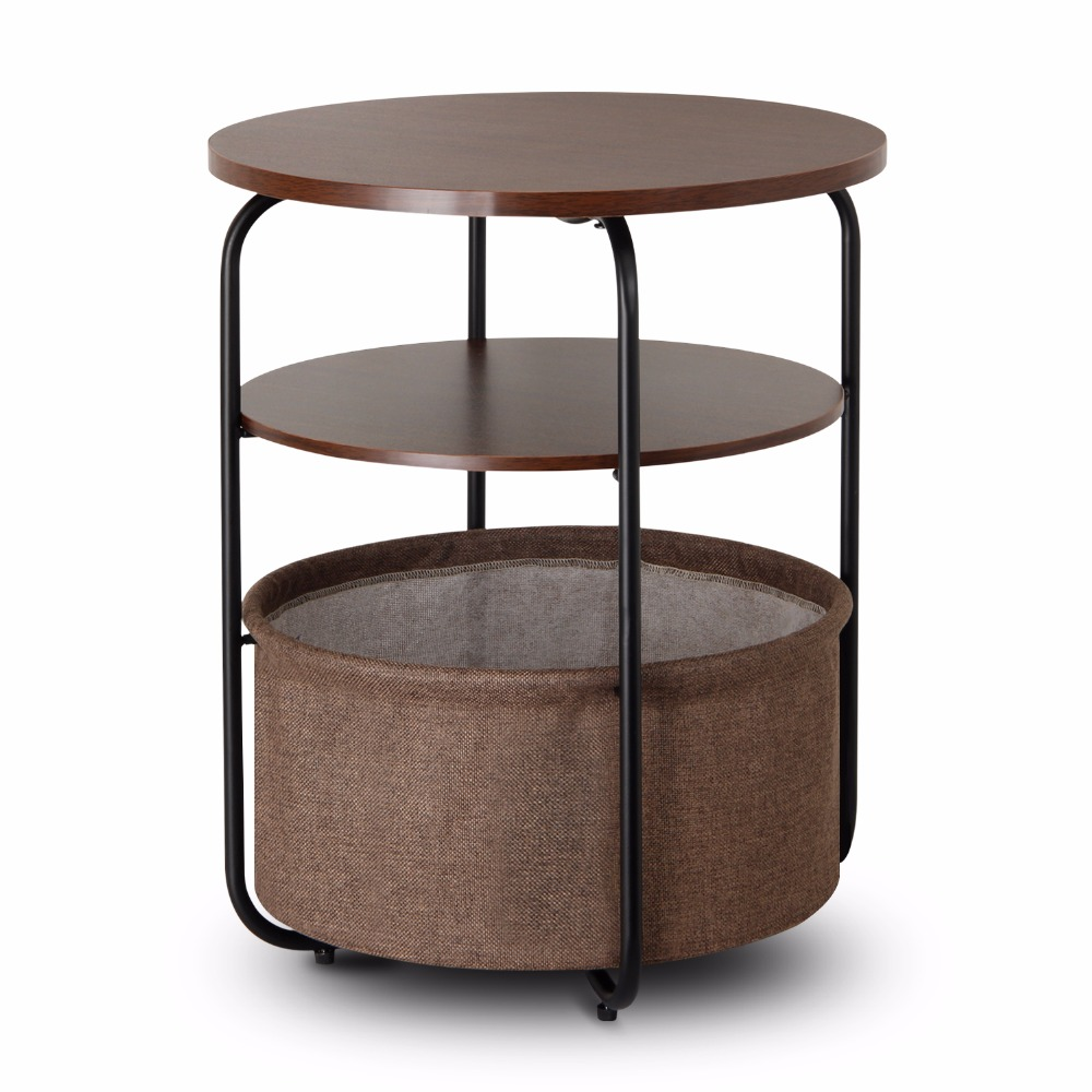 Lifewit 3 Tier Round Side End Table With Storage Basket Nightstand Espresso