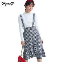 HziriP Preppy Style Autumn High Waist Plaid Suspender Skirt 2017 Asymmetrical Ruffles Knee Length Women S