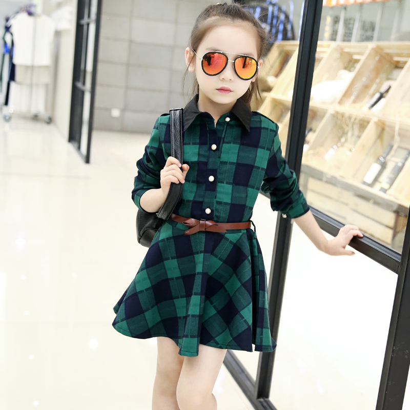 2017 new children clothes big girls plaid dresses casual autumn and spring fashion princess dresses long full sleeve clothing  europe hot sale baby girls long sleeve velvet plaid top pant suit fashion childrens casual clothes princess clothing 16d1224