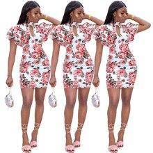 S-XL  new women hollow out floral print dress ruffles o neck mini dress casual leisure short bodycon dress black casual bodycon round neck hollow design mini dress