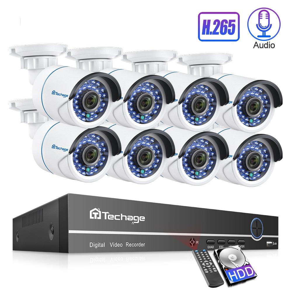 Techage 8CH 1080P H 265 POE IP Camera NVR System 2MP Audio Sound Record CCTV Video