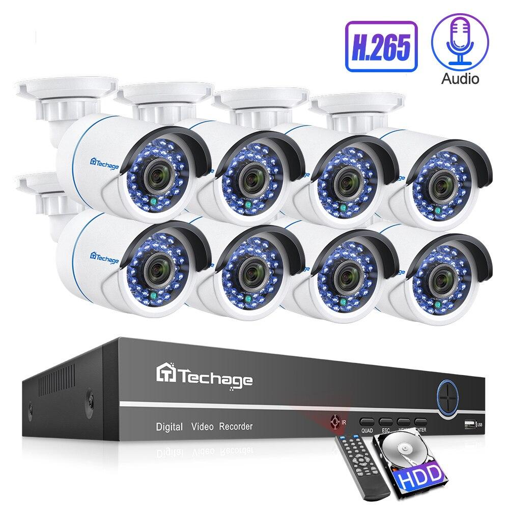 Techage 8CH 1080P H.265 POE IP Camera NVR System 2MP Audio Sound Record CCTV Video Surveillance Kit IR Cut DIY Home Security Set