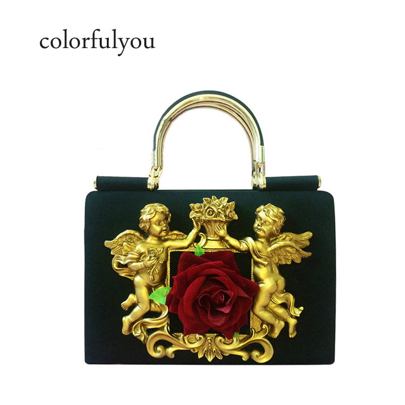 2019 New arrived fashion cloth women handbags Vintage 3D flower tote brand design Angel Relief bags