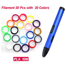 3D Printing Drawing Pen Adjustable Speed/Tempreture Modeling With 20 pcs  PLA/ABS Filament 20 Colors