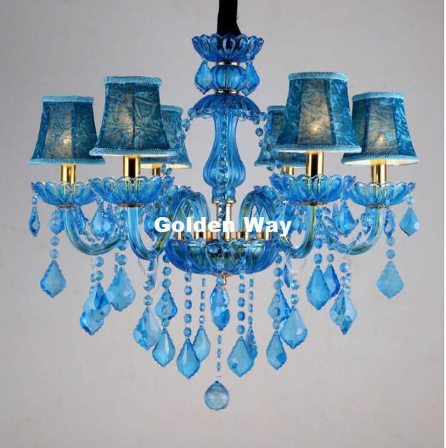 Blue Crystal Chandelier Lighting Luxury Light Modern For Bar Ktv Coffee E14 Decor
