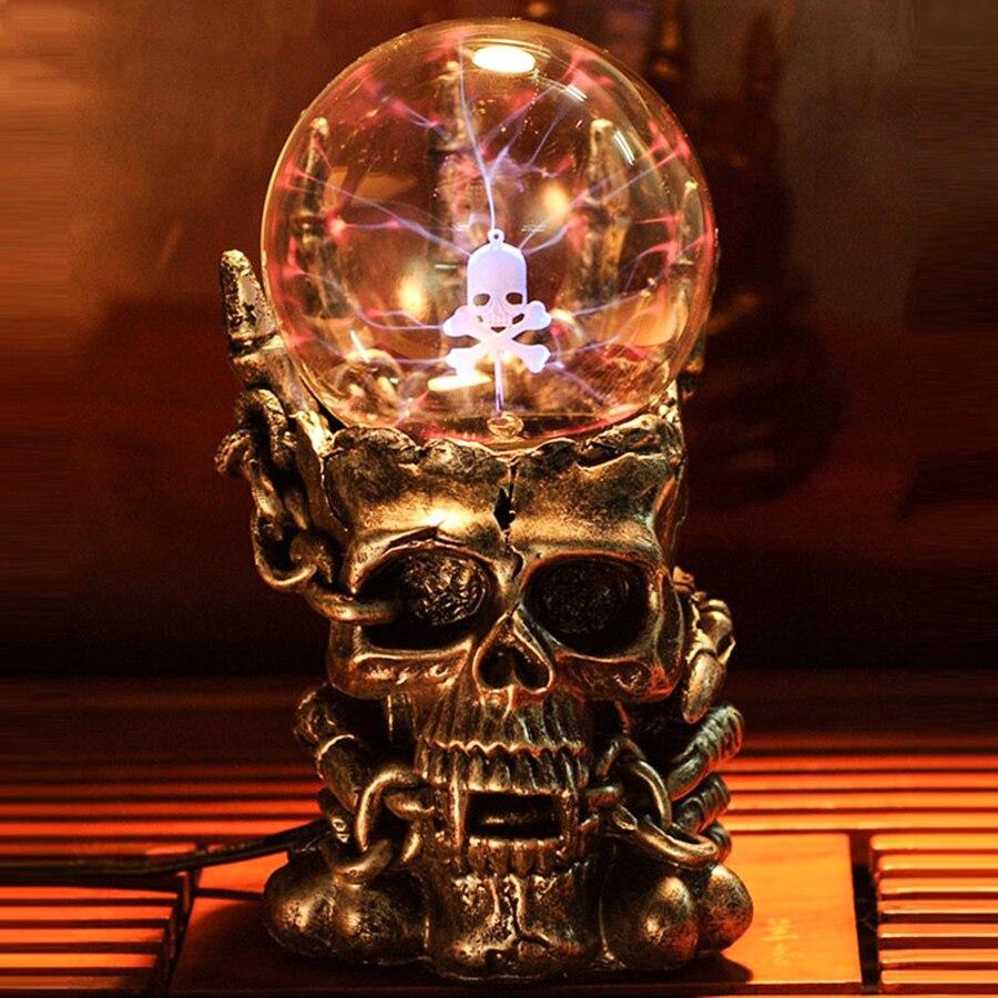 Tête de crâne surnaturelle boule de verre magique veilleuse nouveauté lampe lampe de Table