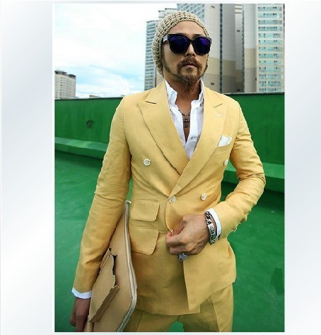 a13247821385 B authentic South Korea purchased direct Korean male fashion summer slim  suits linen suits the double breasted suit