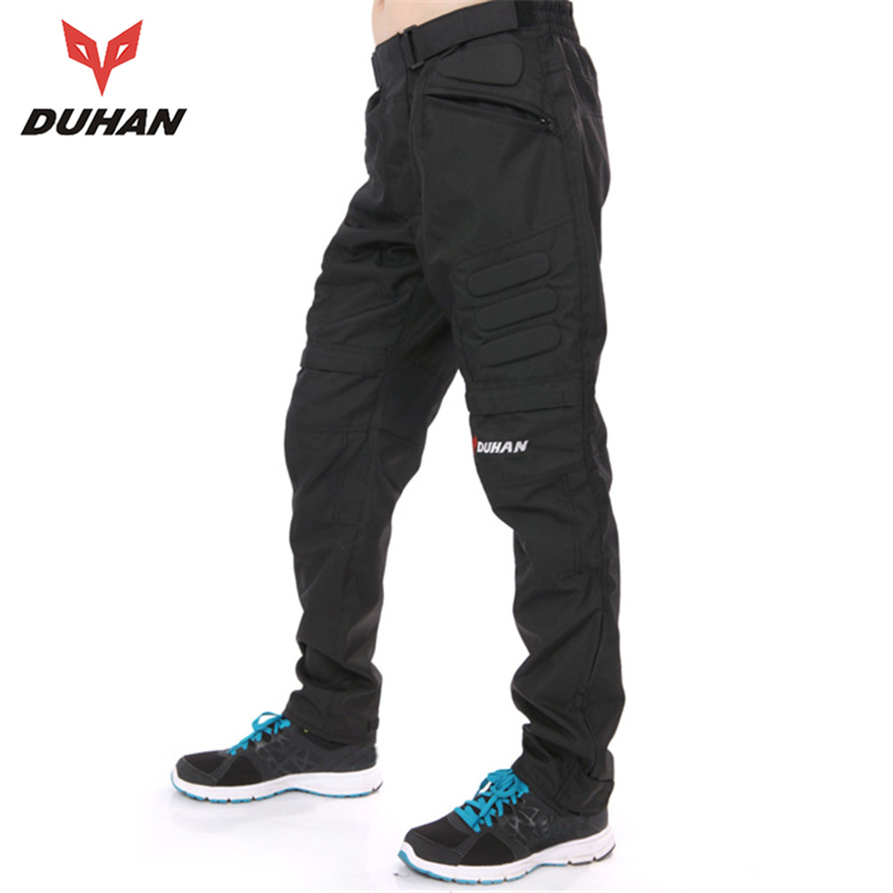 ФОТО DUHAN Men's Windproof MOTO Pants Motorcycle Mountain Cycling Trousers Straight Pants Men's Motorcycle Long Pants Hip Protector
