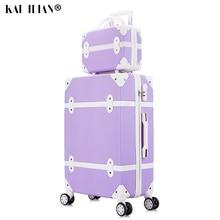 Koffer Op Wielen Vrouwen Hard Retro Rolling Bagage Set Trolley Bagage Met Cosmetische Tas Vintage Koffer Set Voor Meisjes Student