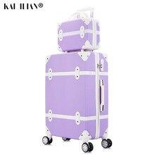 Maleta con ruedas para mujer, equipaje con ruedas retro duro, trolley con equipaje con bolsa de cosméticos, conjunto de maletas vintage para chicas y estudiantes