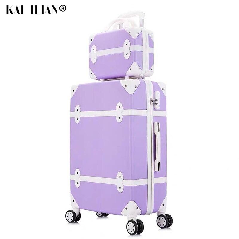 Valise sur roues femmes dur rétro roulant bagages ensemble trolley bagages avec sac cosmétique valise vintage ensemble pour filles étudiant