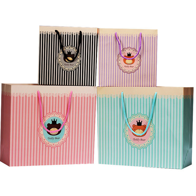 Small Paper Bags With Handles Gift Bag Cute Bear Baby Classic Design