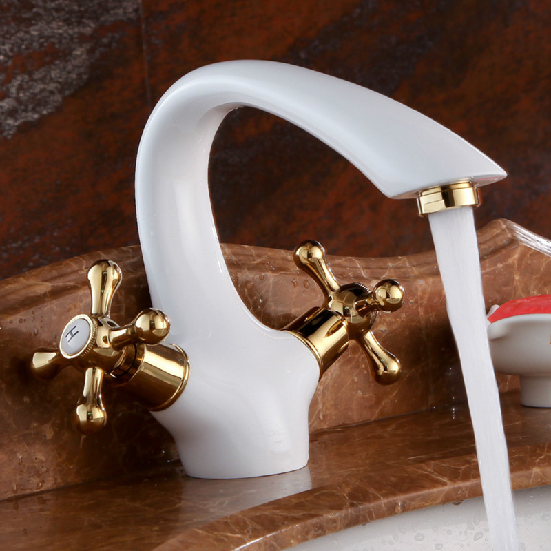 ФОТО Elegant Deck Mount Two Handles Basin Faucet White & Gold Bathroom Sink Mixer Tap w/ hot and cold water LX-2121