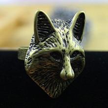 Oro decoración zorro anillo. negro ojos acrílicos. europeos y americanos estilo moda. mujeres de joyería fina envío gratis