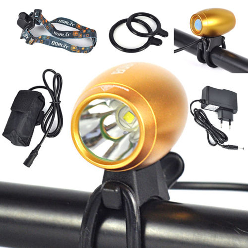 BORUIT 3000Lm XM-L2 LED Rechargeable Head Front Bicycle Light Bike Lamp HeadLamp mini 3000lm xm l2 led front bike lights 2 in 1 headlamp bicycle light 6400mah battery pack headlamp