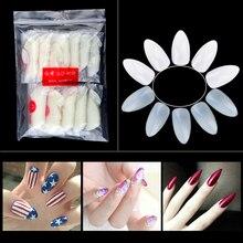 600 Pcs/Pack Oval Sharp End Stiletto Nail Fake Tips White Natural Nail Art Full Cover False Tips Nail Art Manicure Set Tools