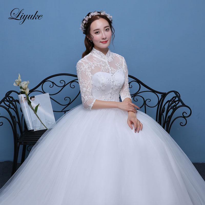 Liyuke J13 Vintage Style High Collar Wedding Dress Ball Gown Chic Tulle Appliques Floor-Length Bridal Dresses robe de mariage
