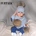 Crianças Com Idades Entre 2-14 Quente Chunky Grosso Stretchy Knit Beanie Chapéu Pom pom
