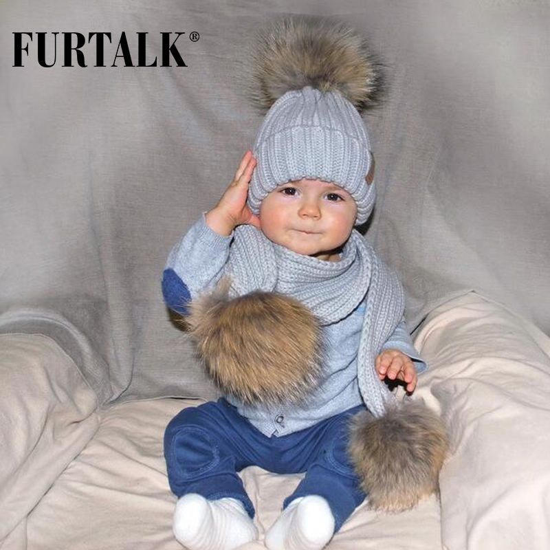 77e5fef5e5df34 FURTALK Kids Ages 2 7 Winter Baby Real Fur Pompom Hat Scarf Set Knit Beanie  Hats and Scarves for Child -in Skullies & Beanies from Apparel Accessories  on ...