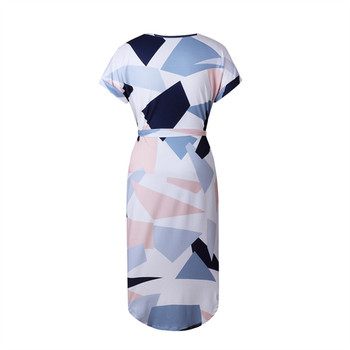 2018 Summer Dress female V-neck Women Fashion Geometric Print Elegant Cute Sashes Sexy Slim Dress Women Dresses Vestidos  3