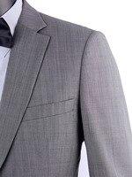 Стильные серые шарккинговые деловые мужские английские костюмы, выполненные из гладкой камвольная шерсть, свадебные костюмы для мужчин, ко