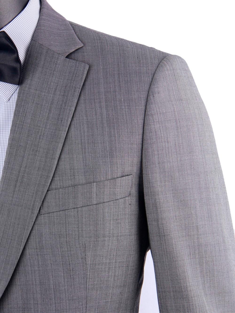 Стильный Grey Sharkskin Бизнес Для мужчин английские костюмы Made Slim Fit Гладкой камвольная шерсть смесь свадебные костюмы для мужчин Жених костюм