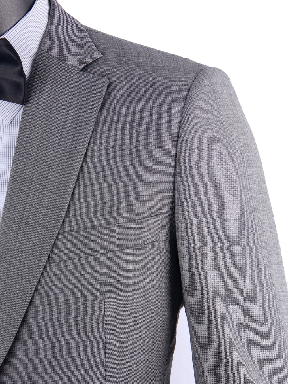 Stylish Grey Sharkskin Business Men Suits Tailor Made Slim Fit Smooth Worsted Wool Blend Wedding Suits For Men Groom Suit