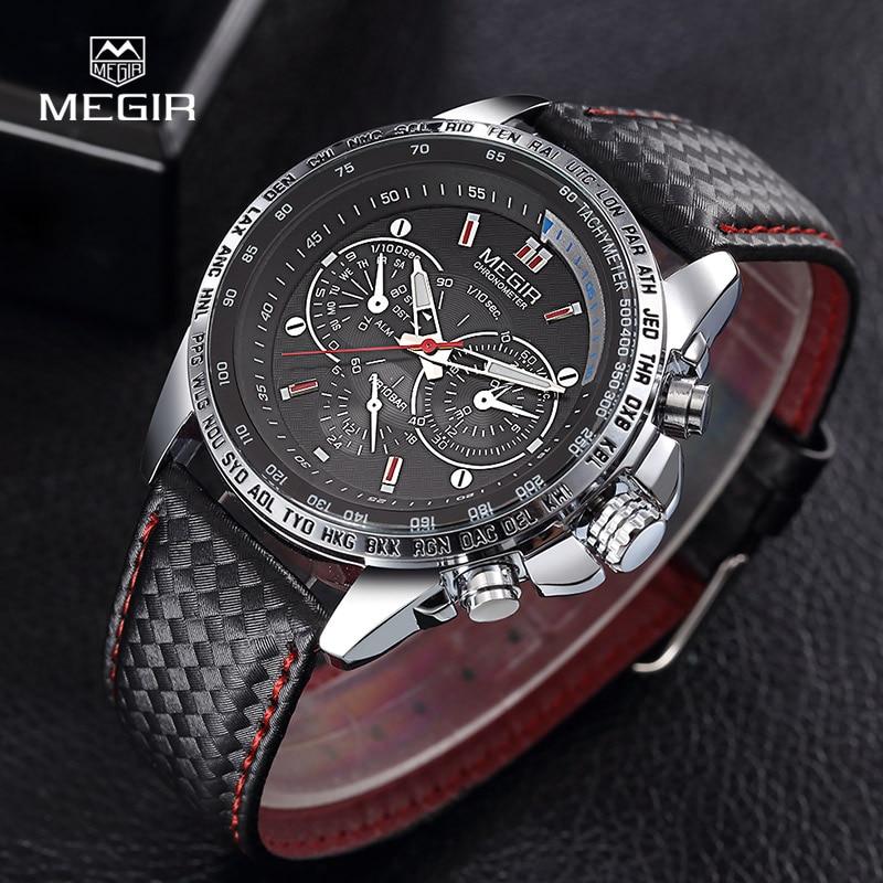 MEGIR hot moda męska zegarek kwarcowy marki wodoodporne skórzane - Męskie zegarki - Zdjęcie 5