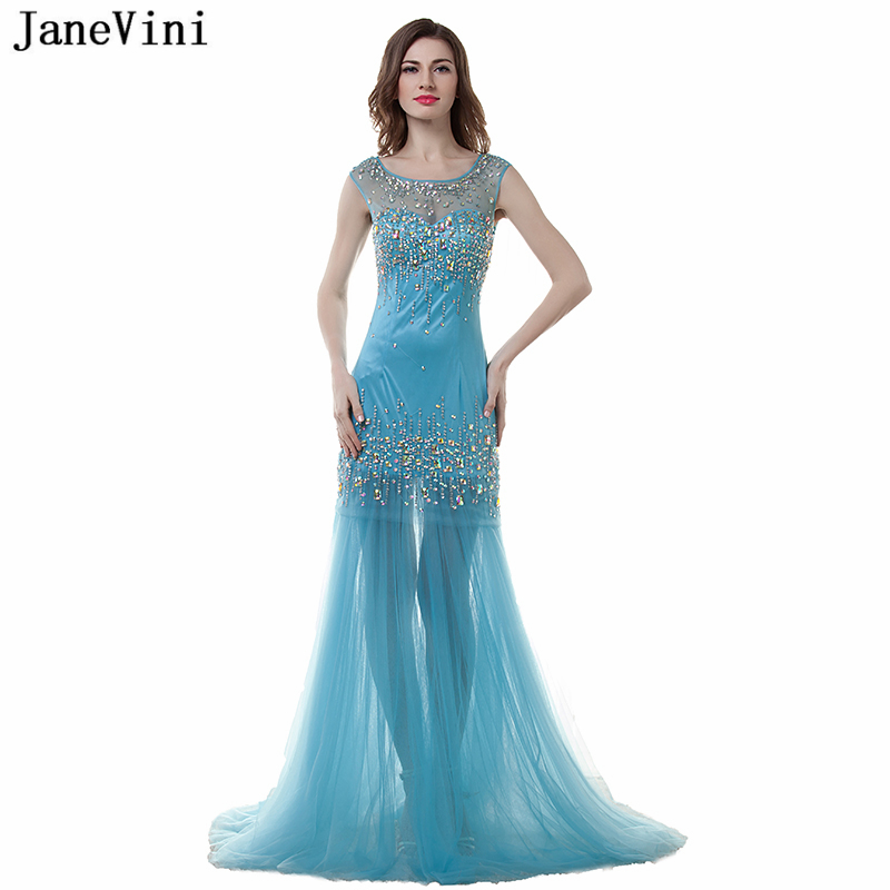 JaneVini Sexy Mermaid Blue Plus Size Bridesmaid Dresses Scoop Neck Crystal Beaded Illusion Back Floor Length Tulle Prom Gowns