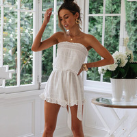 Strapless White Playsuit Solid Beach Style Beach Summer Holiday Sash Female Playsuit