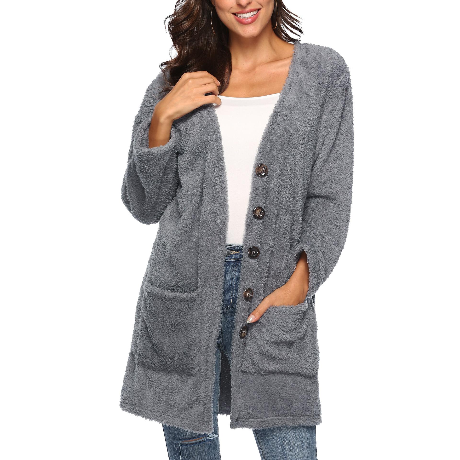 Plus Velvet Thick Fleece Sweater Women Winter Long Plash Cardigans Womens Sweater Jumper Pull Femme Outerwear Sexy Cardigans