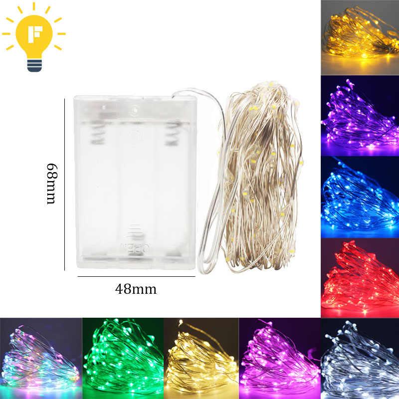 1-10 M ĐÈN LED Dây đèn USB 5 V/Pin Đèn Cổ Tích Ánh sáng Bạc Dây Đèn LED cho đảng Giáng Sinh Cưới 9 màu Trang Trí
