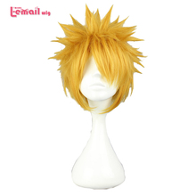 L email wig Brand New NARUTO Naruto Uzumaki Cosplay Wigs 30cm Short Yellow Heat Resistant Synthetic Hair Perucas Cosplay Wig