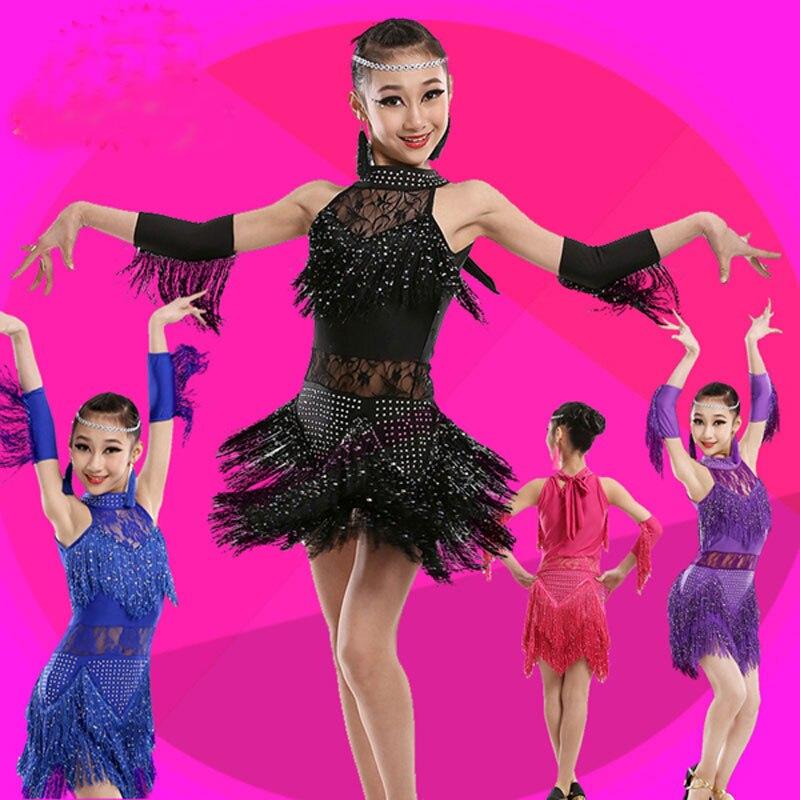 Children Latin Dance Dress For Girls Dance Dress Ballroom Dancing Dress Girl Dancewear Kids Kid Stage Cha Cha Tassel